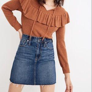 Madewell Rigid Denim Straight Mini Skirt Raw Hem